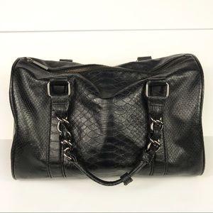 Express Reptile Vegan Leather Chain Satchel Bag